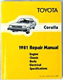 1981 Toyota Corolla Service Repair Shop Manual Oem 81