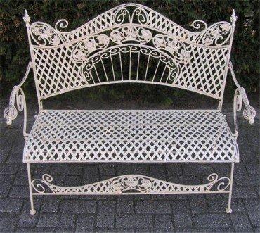 Casa Padrino Art Nouveau Garden Bench Altweiss 122 Cm   Antique Style  Garden Bench