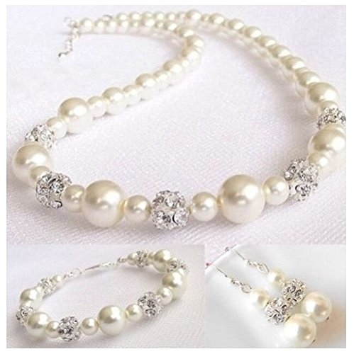 Ivory Pearl Necklace (JustForBridal Beautiful Ivory Pearl Necklace Sets with Austrian Rhinestone Bridesmaid ~ Bridal)
