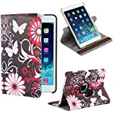32nd® Designer book wallet 360 degree revolving case cover for Apple iPad 2 3 4 + screen protector and cloth - Gerbera