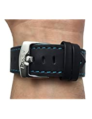Leather Watch Strap Band, Racer, 22mm, Black with Blue Stitching