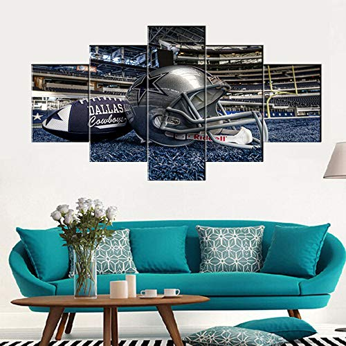 Native American Decor Dallas Cowboys Pictures Super Bowl Paintings 5 Panel Canvas Wall Art The National Football League Artwok Home Decor for Living Room Giclee Framed Ready to Hang(60''Wx32''H) ()