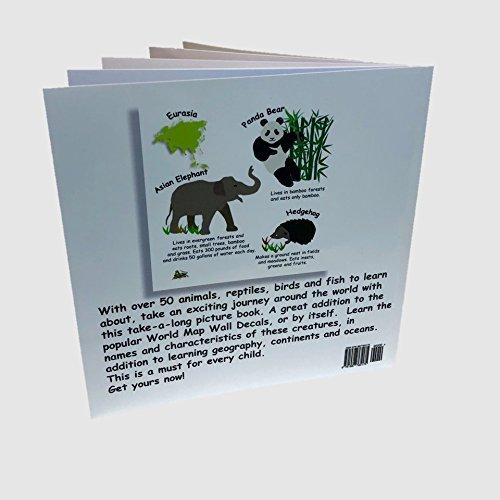 Bizzy Bees World Animal Book and Large Kids Educational Animal Landmarks World Map Peel /& Stick Wall Decals Stickers Home Decor Art for Boys Bedroom Classroom