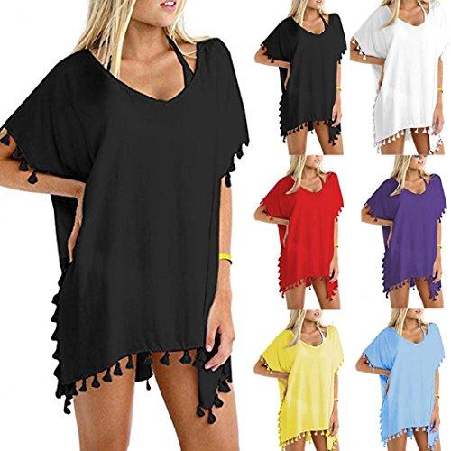 Beach In Up Spiaggia Amuster Swimsuit Shirt Beachwear Big camicetta allentata Chiffon Women Bulk Size Holiday Nero Silk Cover up Cover Bikini qX7p8UXx
