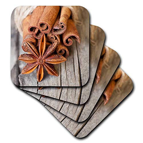 (3dRose Andrea Haase Christmas Photography - Close Up Photography With Anise Capsule And Cinnamon Sticks - set of 8 Ceramic Tile Coasters (cst_318600_4))