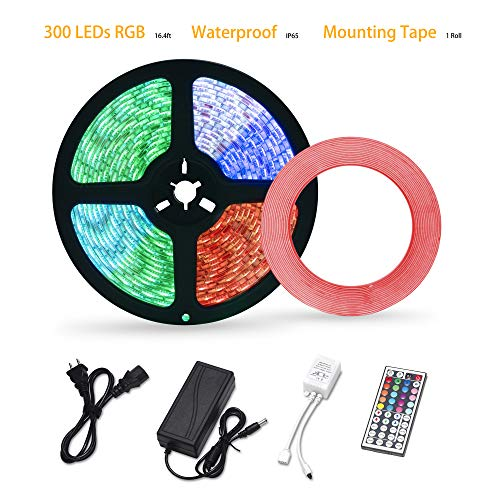 LED Strip Lights Waterproof 16.4ft 300leds RGB LED Light Strips 5050 Color Changing LED Strip Lights with Remote for Room LED Tape Lights for Home Kitchen Decoration Mounting Tape 12V Power Supply