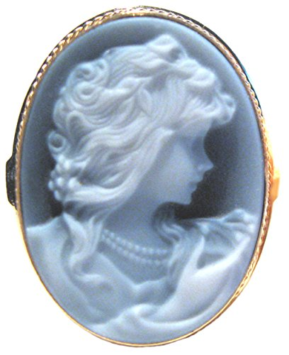 - Romantica, Cameo Ring Sterling Silver 18k Gold Overlay Master Carved, Agate Stone Size 8.5 Italian