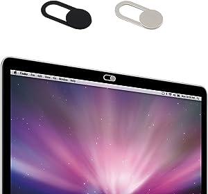 [2Pack] Webcam Cover, MocDoo Metal Magnet Slider Web Camera Case for Laptop Tablet (Black+Silver) Privacy Cover Solution