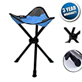 DiKoMo Portable Tripod Camping Stool Folding Lightweight Seat for Sitting Heavy Duty 3 leg Chair For Fishing Camping Hiking (Blue)