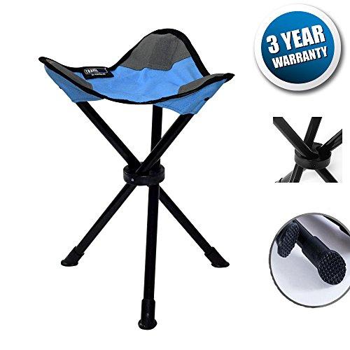 DiKoMo Portable Tripod Camping Stool Folding Lightweight Seat for Sitting Heavy Duty 3 leg Chair For Fishing Camping Hiking - 200 Lb Tripod