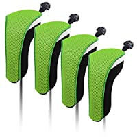 4x Thick Neoprene Hybrid Golf Club Head Cover Headcovers with Interchangeable Number Tags