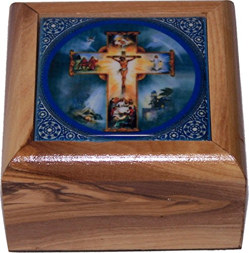 Holy Land Market First Communion Box - Rosary Box - Bethlehem Olive wood (Ceramic - Crucifixion) by Holy Land Market (Image #2)