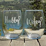 Hubby and Wifey Glasses, Mr and Mrs Wedding Gifts, Set of 2 Etched Wine Glasses for Couple