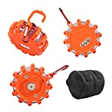 LED Flare - LED Roadside Flares Led Road Flares Emergency Disc Beacon Flashing Safety Puck for Cars Vehicles SOS Truck Boat - 3-Pack Magnetic Base 9 Modes Storage Bag Included Shatterproof Waterproof