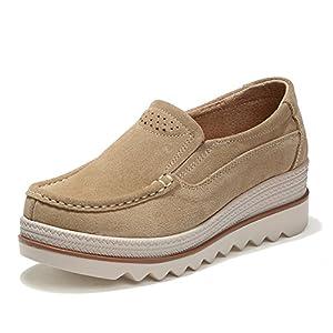 HKR-JJY3088xingse40 Women Platform Slip On Wedge Sneakers Low Top Wide Moc Loafers Comfort Working Shoes Tan 8 B(M) US