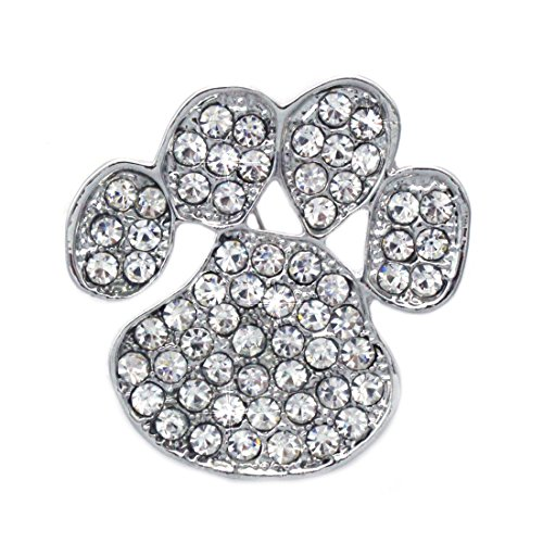 cocojewelry Doggy Dog Pet Paw Print Brooch Pin Necklace Pendant Jewelry (Clear) (Pin Paw Puppy)