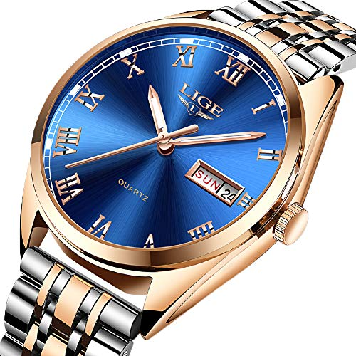 (Mens Watches Fashion Steel Waterproof Analog Quartz Watch Men Top Brand LIGE Business Dress Date Wristwatch Gents Sport Casual Gold Blue Dial Clock)