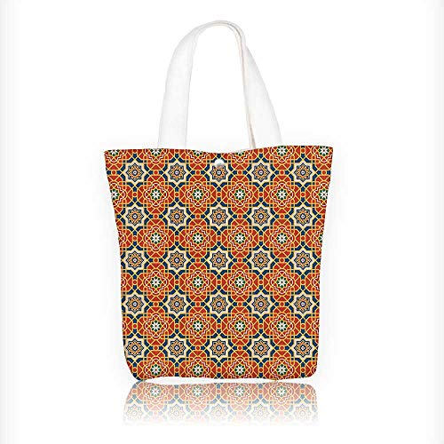 Ladies canvas tote bag Collection Arabesque Islamic Geometric Oriental Ethnic Patterns and Motifs with Vintage Colors Art reusable shopping bag zipper handbag Print Design W16.5xH14xD7 INCH by Muyindo