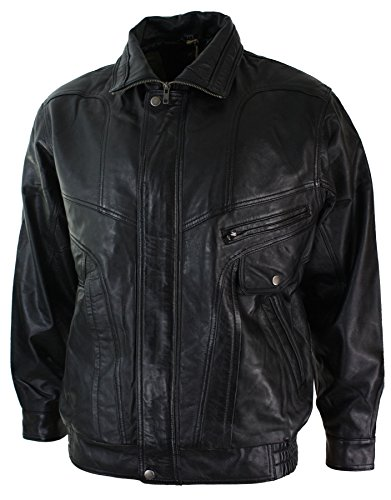 Black Bomber Black Classic Real Brown Nubuck Washed Mens Leather Jacket Pqz1d5xn