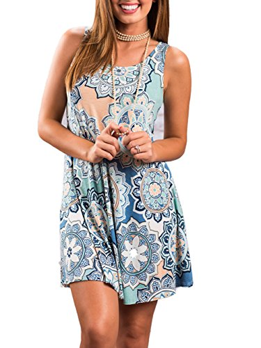 Famulily Women's Sleeveless Tunic Dresses Fun Floral Print Loose Shift T Shirt Dress Light Blue XL