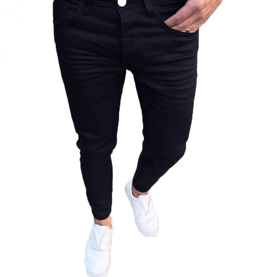 Nituyy Men Slim Skinny Fit Pencil Pants Mid-Rised Casual Pants (Black, XXL)