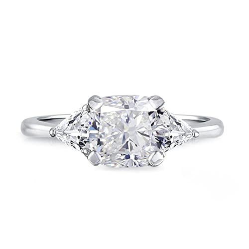 Samie Collection Rhodium Plated 1 74ctw Cushion Cz 3 Stone Wedding Engagement Rings In Birthstones