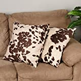 DS 2 Piece Brown White Cow Theme Decorative Throw Pillows Set 20-Inch, Beautiful Sporting Cowhide Animal Pattern Indoor Sofa Couch Pillow, Rustic Vintage Style, Vibrant Colors, Soft & Comfy Polyester