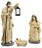 Nativity Set/6 Holy Family and Three Wisemen Cream Aceented with Gold
