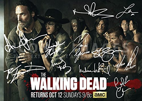 "The Walking Dead Season 5 Tv Print Andrew Lincoln Norman Reedus Danai Gurira Steven Yeun Emily Kinney Michael Cudlitz Chad Coleman Chandler Riggs (11.7"" X 8.3"")"