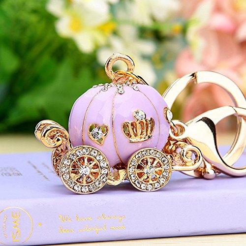 Cute Big Purple Princess Pumpkin Carriage Crystal Charm Keychain Key Ring