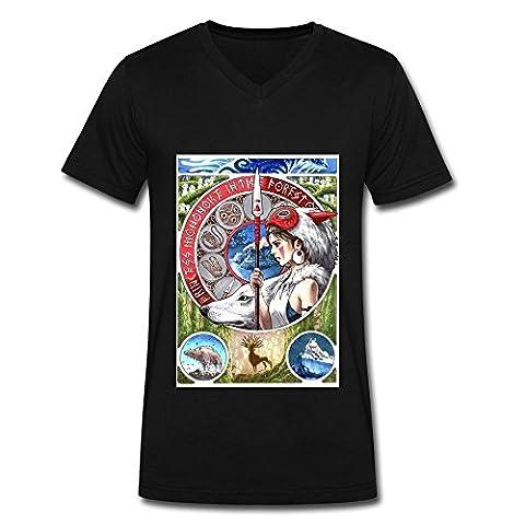LIMEI Men's Princess Mononoke V-Neck Shirt Black XL (The Maze Runner T Shirt Girls)