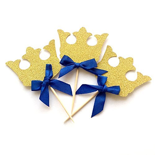 Crown Cupcake Toppers, 12 Pack Crown Boy Birthday Party Cupcake Topper, Royal Prince Baby Shower Decorations, Gold Crown Cupcake Toppers with Blue Bow, King Prince Baby Shower Decorations Birthday Boy Cupcake
