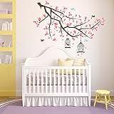 Wallflexi - Adesivi murali, motivo: ramo di ciliegio, decalcomania rimovibile, autoadesiva adatta per casa o ufficio, multicolore