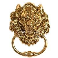 BorizDoorz Lion Door Knocker Lion Head Beautiful Lion Mouth Accessories Gate Antique Shiny Brass