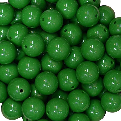- 20mm Bulk Package 50 Emerald Green Solid Acrylic Chunky Bubblegum Beads Loose Gumball Beads Lot