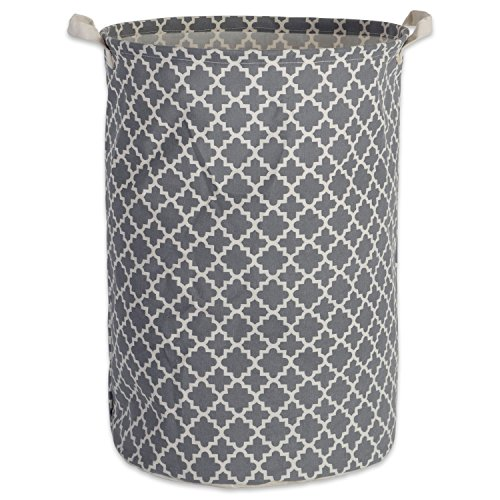 DII Cotton/Polyester Round Laundry Hamper or Basket, Perfect in Your Bedroom, Nursery, Dorm, Closet, 14 x 14 x 20 - Gray Lattice