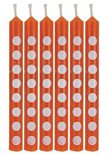 Creative Converting 12 Count Polka Dots Birthday Cake Candles, Sun kissed Orange