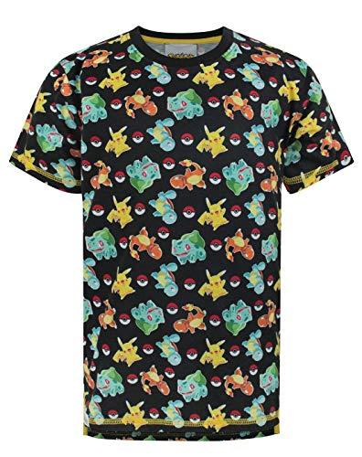 Pokemon Starters Sublimation Boy's T-Shirt (11-12 Years) Black