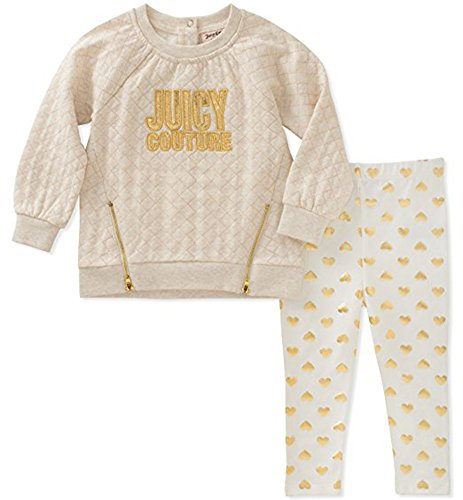Juicy Couture Girls' Tunic Legging Set, Oatmeal Heather/Silent Vanilla/Gold 6/9M