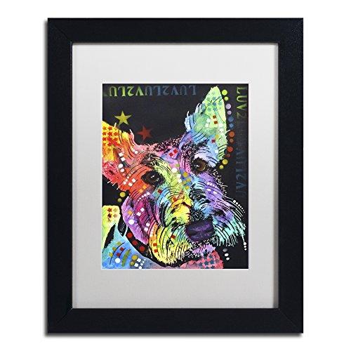 Scottish Terrier Paintings - Trademark Fine Art Scottish Terrier by Dean Russo, White Matte, Black Frame 11x14-Inch