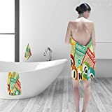 Printsonne 100% Cotton Bath Towel Bingo Game with Ball and Cards Pop Art Stylized Lottery Hobby Celebration Theme No Fading Multipurpose