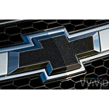 "VVIVID Black Metallic Auto Emblem Vinyl Wrap Overlay Cut-Your-Own Decal for Chevy Bowtie Grill, Rear Logo DIY Easy to Install 11.80"" x 4"" Sheets (x2)"