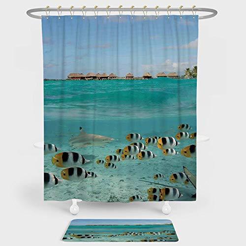 iPrint Ocean Shower Curtain Floor Mat Combination Set Blacktip Reef Shark Chasing Butterfly Fish Lagoon Bora Bora Tahiti decoration daily use Aqua Yellow Black