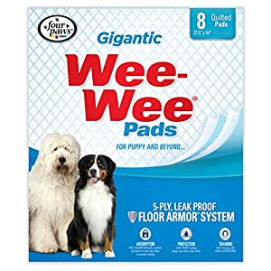 Wee Wee Dog Pee Pads Extra Large | 8 Count | Puppy Training Pee Pads for Dogs | Gigantic Size