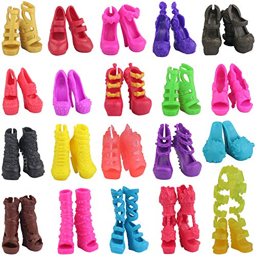 EC2TOY 10 Pairs Doll Shoes Accessories | for Girl Doll Monster High Heel Girls Xmas Gift -