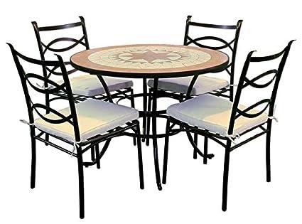 Tavolo Tondo 4 Sedie.Set Liberty Tavolo Tondo 100xh72 Con Mosaico Con 4 Sedie