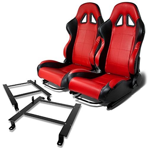 Pair of RST5BKRD Racing Seats+Mounting Bracket for Chevy Corvette (Corvette Seat Foam)