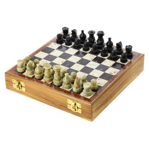 ShalinIndia Rajasthan Stone Art Unique Chess Sets and Board -Indian Handmade Unique Gifts -Size 8X8 -