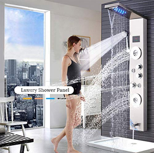 NYW-HS 5 Function Ceiling Mounted LED Rain Shower Set for Bathroom Thermostatic Concealed Shower with 4 Jet Sprayer
