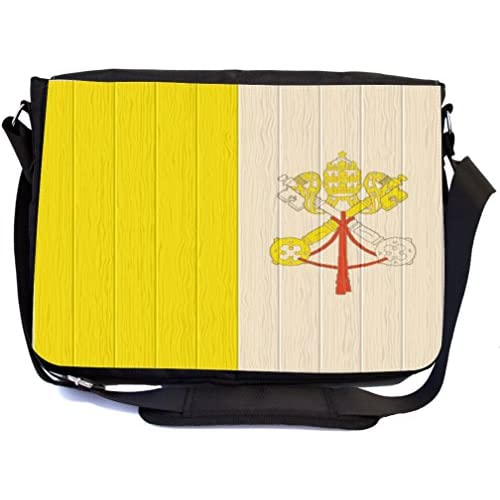 Rikki Knight Holy See Flag on Distressed Wood Design Multifunctional Messenger Bag - School Bag - Laptop Bag - with padded insert for School or Work - Includes UKBK Premium coin Purse